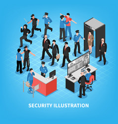 security system isometric vector image