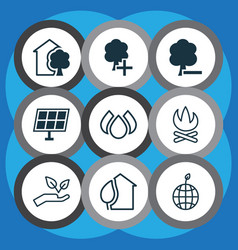Set of 9 eco icons includes world ecology delete vector