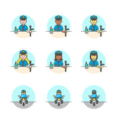 Set of multicolor crime police icons vector