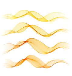 set orange abstract wave design element vector image