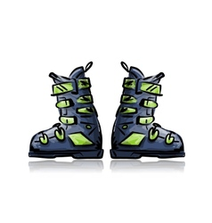 Ski boots sketch for your design vector image