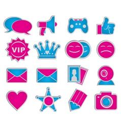 Social network icons sticker vector