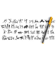 stone age doodle set vector image