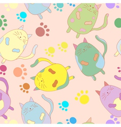 Stylish colorful seamless with cats background vector image
