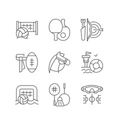 summer camp activities linear icons set vector image