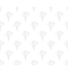 tulip seamless on white background vector image