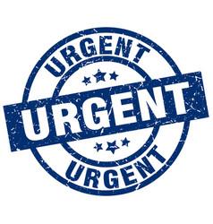 urgent blue round grunge stamp vector image