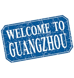 Welcome to Guangzhou blue square grunge stamp vector