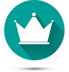 White crown icon on green background with shadow vector