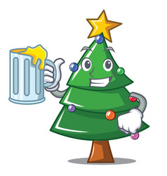 With juice christmas tree character cartoon vector