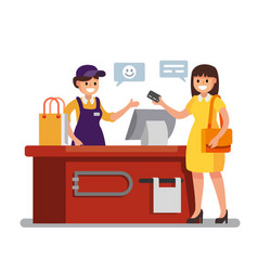 Woman shopping in supermarket vector