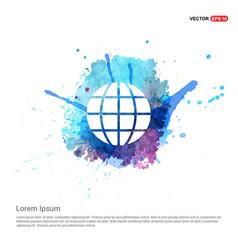 World globe icon - watercolor background vector