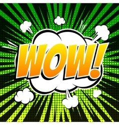 Wow comic book bubble text retro style vector image