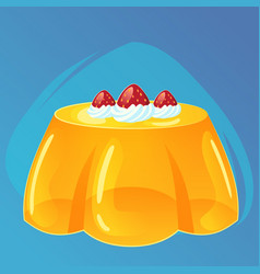 Yellow jelly puddingwith strawberries and cream vector