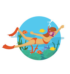 young girl diving under the ocean vector image
