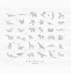 animals origami set crumpled vector image