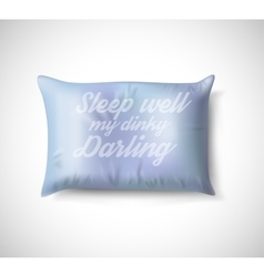 Blue Pillow on White Background with Real Shadow vector image