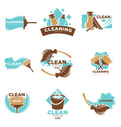 home cleaning service of washing or mopping vector image