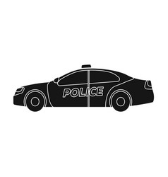 Police car icon in black style isolated on white vector
