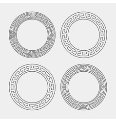 Set of four round meander frames vector