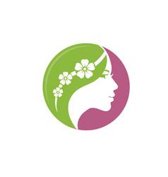 beautiful woman with flower logo vector image vector image