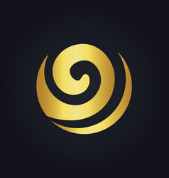round curl wave ecology abstract gold logo vector image vector image