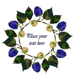 Round frame of blue summer garden berries vector image