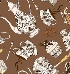 Seamless pattern of coffee service vector image