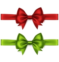 Set of Red Green Bows and Ribbons on Background vector image vector image