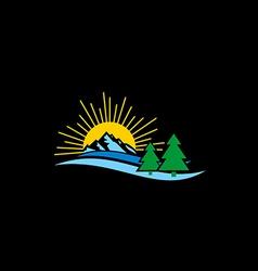 nature landscape mountain logo vector image