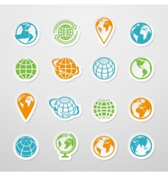 Sticker Globe Icons vector image vector image