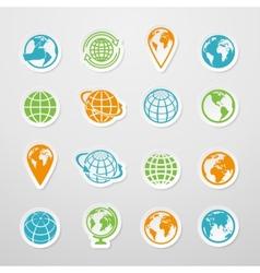 Sticker Globe Icons vector image