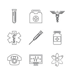 white background with monochrome set of medical vector image