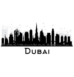 dubai uae city skyline black and white silhouette vector image vector image