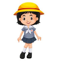 japanese girl in school uniform vector image