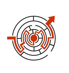 red path across maze vector image