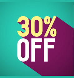 30 off retro flat design label thirty percent vector image