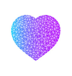 abstract heart symbol blue and purple color heart vector image