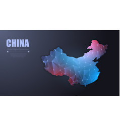 abstract map china wire frame 3d mesh vector image