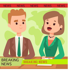 Anchorman breaking news and tv vector