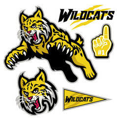 Athletic sport mascot style wildcats in set vector