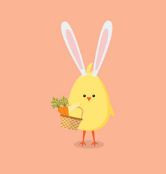 baby chick holding a basket with carrots vector image