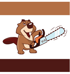 beaver holding a chainsaw in his hands vector image