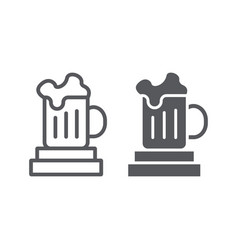 beer mug line and glyph icon drink and glass vector image