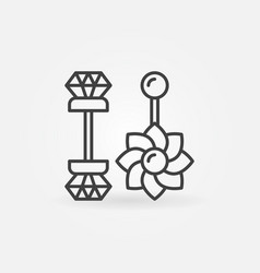Belly button rings icon - piercing jewelry vector