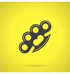 Black brass knuckles flat icon vector