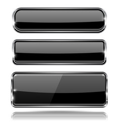 Black glass 3d buttons with chrome frame vector