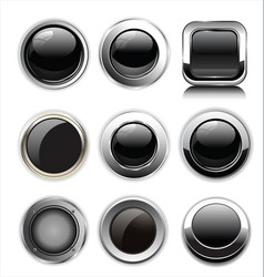 blank black web buttons vector image