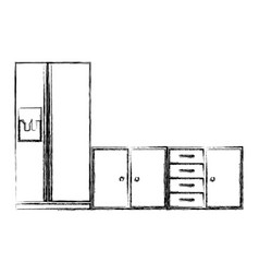 blurred silhouette of lower kitchen cabinets with vector image