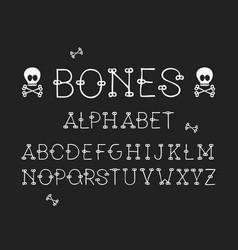 bones regular font alphabet vector image